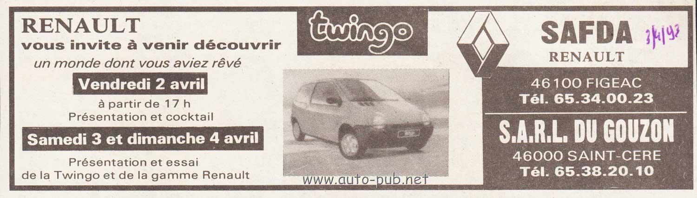 NOREV185290 Voiture citadine RENAULT Twingo de 1993 de couleur jaune