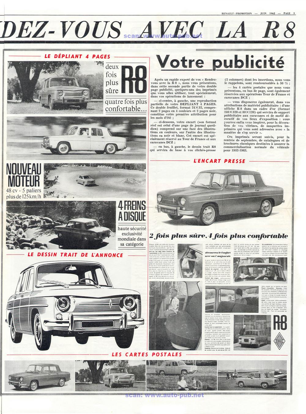 dépliant poster RENAULT R8  moteur à 5 paliers N°4652 bis